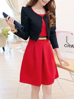 Red Black Two Piece Above Knee Fit & Flare Plus Size Dress for Casual Party Office Evening Cocktail