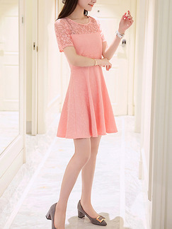 Pink Cute Above Knee Lace Fit & Flare Plus Size Dress for Casual Party Evening  Seasonal Discount