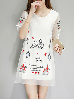 White Black Colorful Above Knee Plus Size Shift Dress for Casual Party