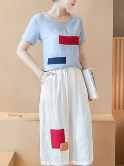 White Blue Colorful Two Piece Shirt Shorts Jumpsuit for Casual