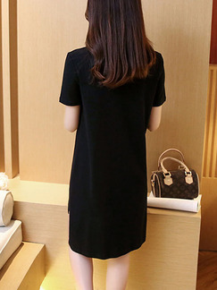 Black Cream Above Knee Shift Dress for Casual  Seasonal Discount