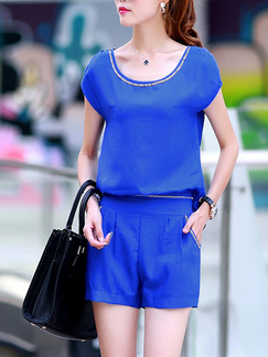 Blue Two Piece Shirt Shorts Plus Size Jumpsuit for Casual  Seasonal Discount