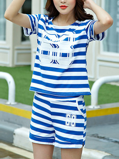 Blue White Stripe Two Piece Shirt Shorts Plus Size Jumpsuit for Casual Seasonal Discount