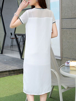 White Blue Knee Length Shift Dress for Casual  Seasonal Discount