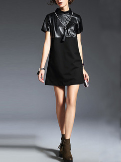 Black Above Knee Shift Dress for Casual Party Evening Seasonal Discount