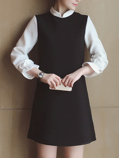 Black White Long Sleeve Above Knee Shift Dress for Casual Party Office Evening
