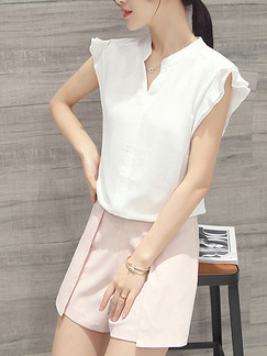 White Pink Two Piece Shirt Shorts Plus Size Jumpsuit for Casual Party Office  Seasonal Discount