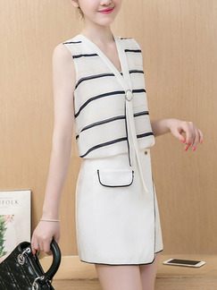 White Black Two Piece Short Dress for Casual Party Office