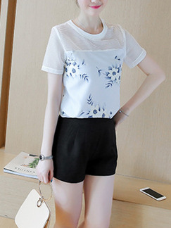 White Blue Black Two Piece Shirt Shorts Plus Size Jumpsuit for Casual Seasonal Discount