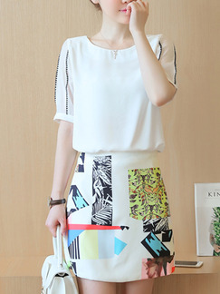 White Black Colorful Above Knee Sheath Two Piece Plus Size Dress for Casual Party