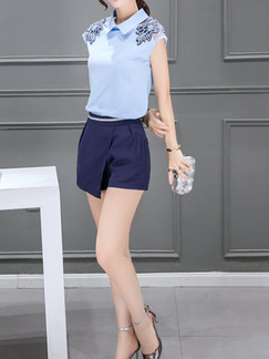 Blue Two Piece Shirt Shorts Plus Size Jumpsuit for Casual Office Party