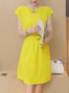 Yellow Above Knee Fit & Flare Plus Size Dress for Casual Party Evening  Seasonal Discount