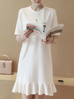 White Above Knee Shift Plus Size Dress for Casual