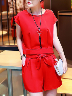Red Two Piece Shirt Shorts Jumpsuit for Casual Party