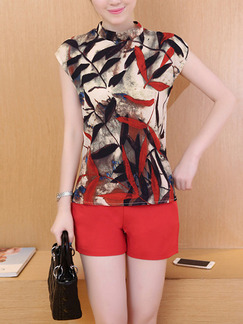 Black Red and Beige Two Piece Shirt Shorts Jumpsuit for Casual Party