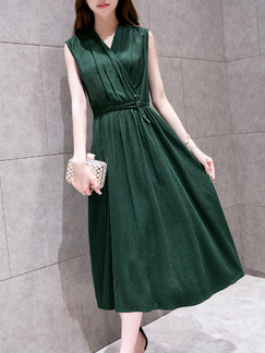 Green Midi V Neck Wrap Fit & Flare Dress for Party Evening Cocktail