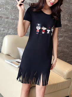 Black Above Knee Shift Plus Size Dress for Casual  Seasonal Discount