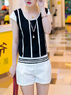 Black White Two Piece Shirt Shorts Plus Size Jumpsuit for Casual Party Office  Seasonal Discount