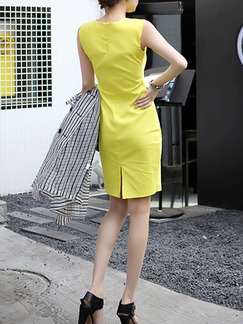 Yellow Above Knee Bodycon Plus Size Dress for Party Evening Cocktail  Seasonal Discount