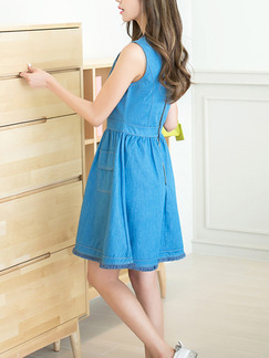 Blue Above Knee Denim Plus Size Fit & Flare Dress for Casual Party  Seasonal Discount