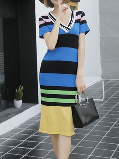 Blue Black Colorful Stripe Knee Length Bodycon V Neck Dress for Casual Party