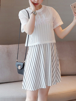 White Black Stripe Two Piece Above Knee Shift Plus Size Dress for Casual Party  Seasonal Discount