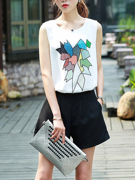 White Black Colorful Two Piece Shirt Shorts Plus Size Jumpsuit for Casual  Seasonal Discount