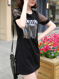 Black Silver Above Knee Shift Plus Size Dress for Casual  Seasonal Discount