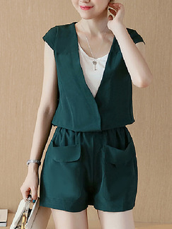 White Green Two Piece Shirt Shorts V Neck Plus Size Jumpsuit for Casual Office  Seasonal Discount