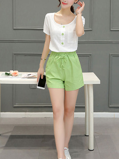 White Green Two Piece Shirt Shorts Plus Size Jumpsuit for Casual  Seasonal Discount