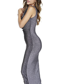 Grey Silver Maxi Bodycon Dress for Party Evening Cocktail Prom  Seasonal Discount