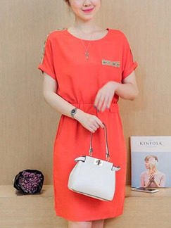 Orange Above Knee Shift Plus Size Dress for Casual Party