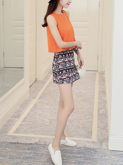 Orange Black Colorful Two Piece Above Knee Plus Size Dress for Casual Party  Seasonal Discount
