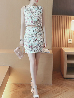 White Black Colorful Two Piece Above Knee Dress for Casual Party  Seasonal Discount