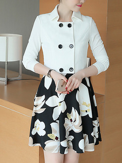 White Black Colorful Short Two Piece Fit  Flare Dress for Casual Party Office Evening Seasonal Discount