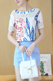 White Blue Colorful Two Piece Shorts Shirt Lace Plus Size Jumpsuit for Casual