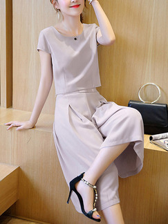 Grey Two Piece Shirt Pants Wide Leg Jumpsuit for Casual Party Office Evening