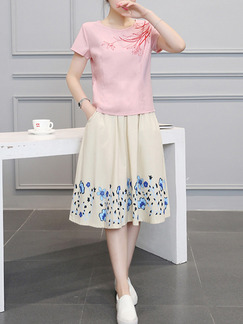Pink Cream Colorful Two Piece Knee Length Plus Size Fit & Flare Dress for Casual  Seasonal Discount