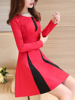 Red Black Above Knee Plus Size Long Sleeve Fit & Flare Dress for Party Evening Cocktail
