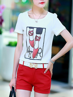 White Red Colorful Two Piece Shorts Shirt Plus Size Jumpsuit for Casual  Seasonal Discount