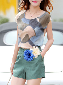 Blue Green Colorful Two Piece Shorts Shirt Jumpsuit for Casual Party