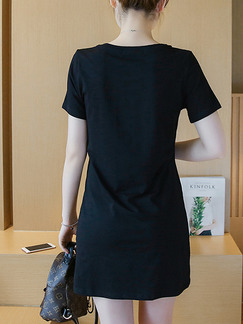 Black Above Knee Plus Size Shift Dress for Casual