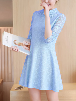 Blue Above Knee Fit & Flare Plus Size Long Sleeve Shirt Lace Dress for Party Office Evening Cocktail  Seasonal Discount