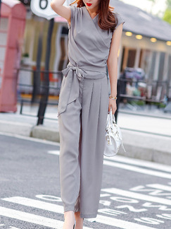 878b5677341e Grey Two Piece Shirt Pants V Neck Plus Size Jumpsuit for Casual Party  Office Evening