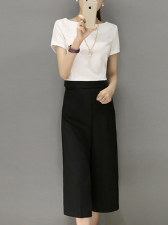 White and Black Two Piece Shirt Pants Wide Leg Plus Size Jumpsuit for Casual Evening Office