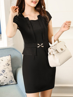 Black Sheath Above Knee Plus Size Dress for Casual Office Evening Party On Sale