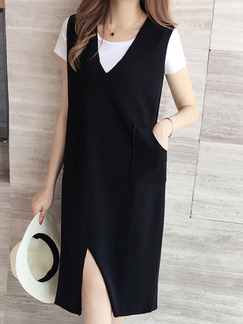 Black Shift V Neck Plus Size Knee Length Dress for Casual