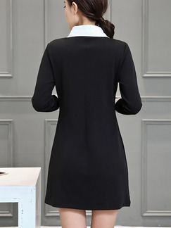 Black Colorful Shirt Long Sleeve Shift Above Knee Plus Size Dress for Casual Office Evening  On Sale