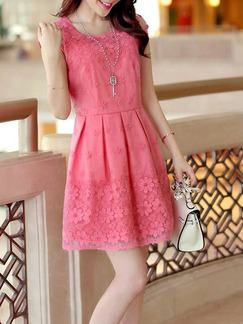 Pink Cute Fit & Flare Plus Size Above Knee Lace Dress for Casual Evening Party  On Sale