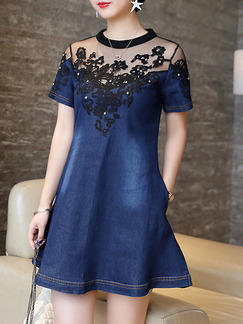 Blue Black Shift T-Shirt Denim Above Knee Plus Size Lace Dress for Casual Party